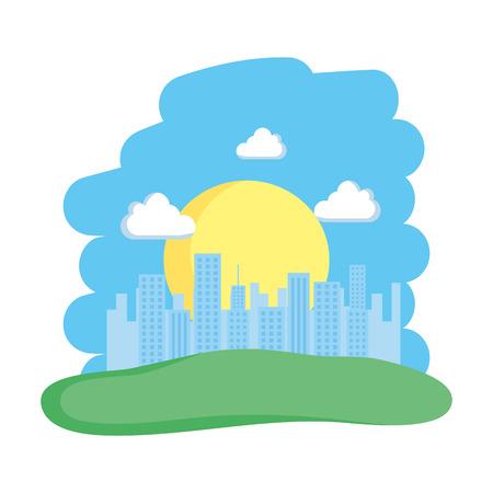 landscape and buildings scene vector illustration design
