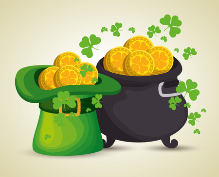 st patrick hat and cauldron with gold coins vector illustration