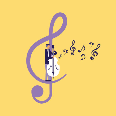 musician man with cello note music vector illustration