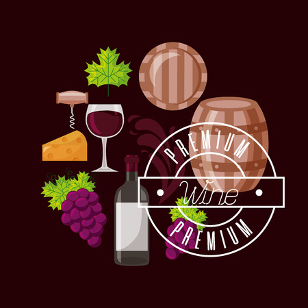 wine bottle barrel grapes premium collection vector illustration Ilustracja