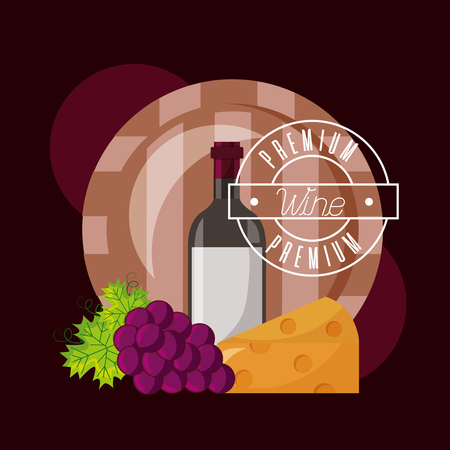 wine bottle barrel cheese and fresh grapes vector illustration Illustration