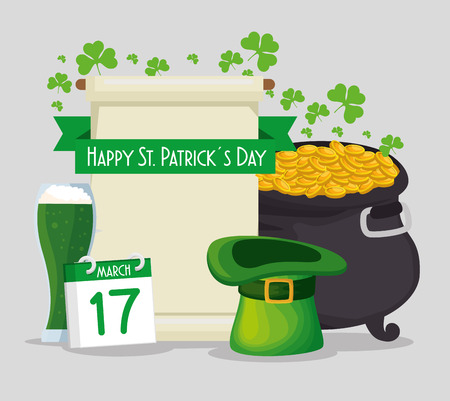st patrick card with cauldron and gold coins with hat vector illustration