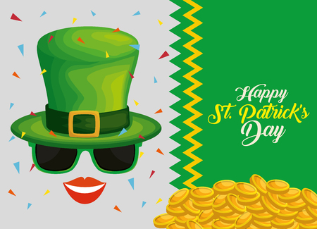 st patrick card with gold coins and hat with sunglass vector illustration