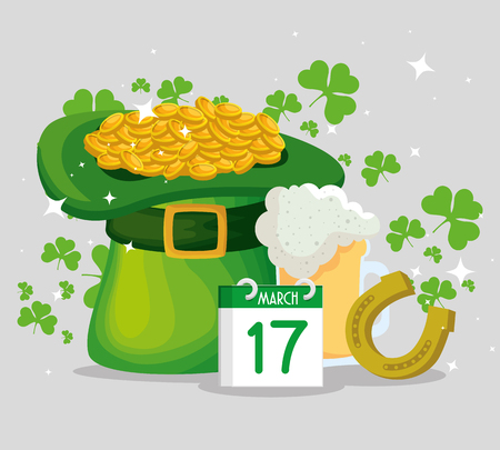 st patrick hat with gold coins and horseshoe vector illustration