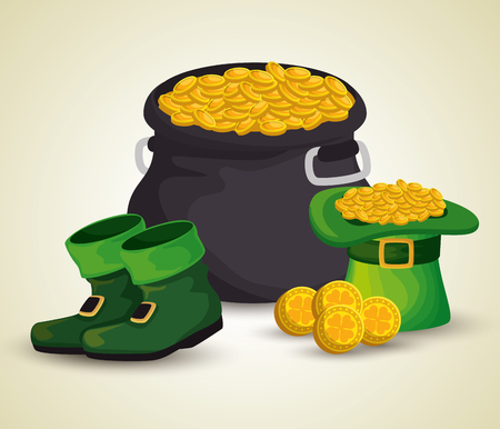 st patrick cauldron with gol coins and hat with boots vector illustration
