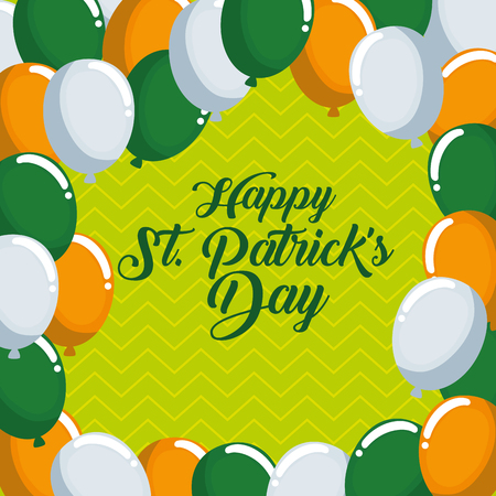 st patrick even celebration with balloons vector illustration