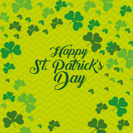 st patrick even celebration with clovers vector illustration