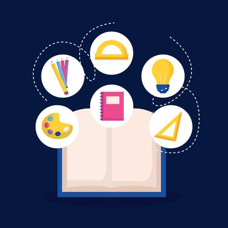 education open book stickers supplies school vector illustration Ilustração