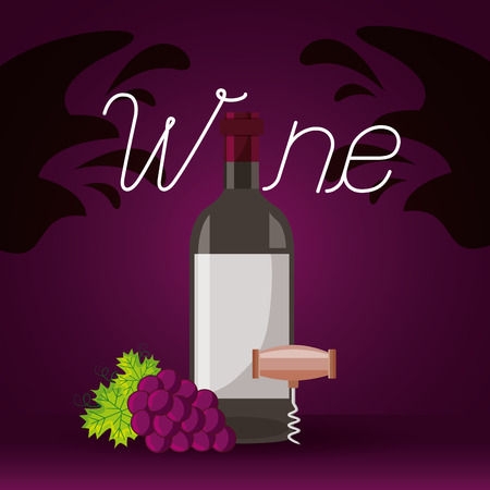 wine bottle corkscrew grapes splashes vector illustration