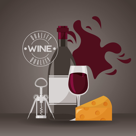 wine bottle cup cheese and corkscrew vector illustration Stock Vector - 116015127