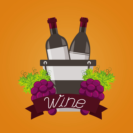 wine bottles ice bucket grapes fruit ribbon vector illustration