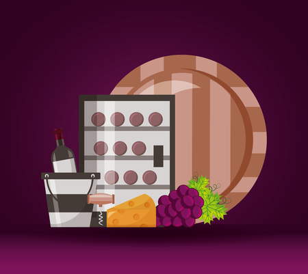 refrigerator wine bottles barrel bucket cheese grapes vector illustration