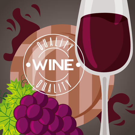 wine wooden barrel and bottle cup grapes vector illustration