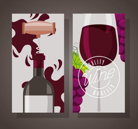 bottiglia di vino con coppa cavatappi e striscione uva Vettoriali
