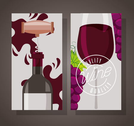 wine bottle with corkscrew cup and grapes banner