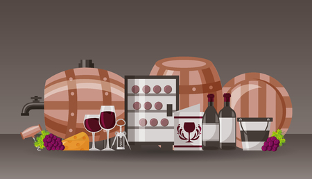 collection wine barrel bottle cups menu vector illustration