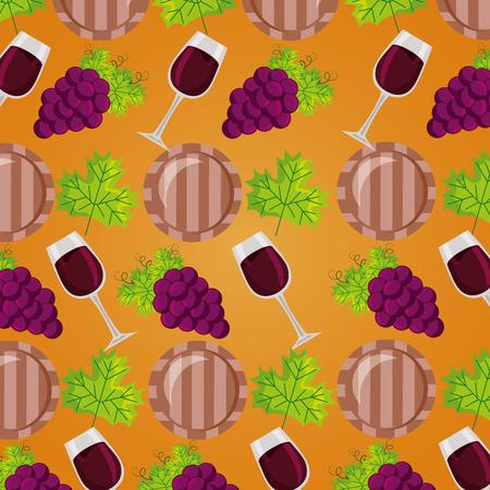 background wine cup barrel grapes decoration vector illustration