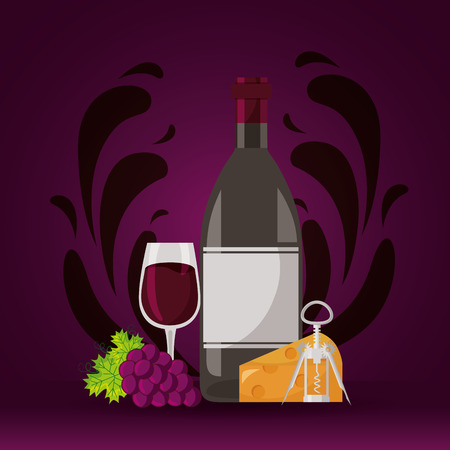 wine bottle cheese grapes cup corkscrew vector illustration
