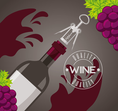 wine bottle with corkscrew splashes vector illustration
