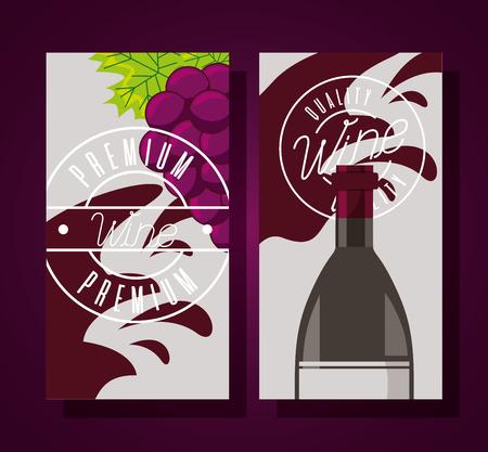 wine bottle grapes splashes banner vector illustration Stock Illustratie