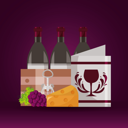 wine bottles wooden basket menu cheese grapes corkscrew vector illustration 向量圖像