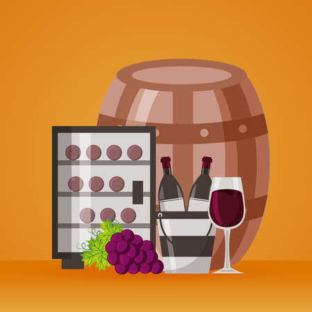 wine bottles ice bucket refrigerator cup and grapes vector illustration Illustration
