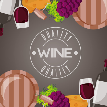 wine wooden barrel cup and grapes vector illustration