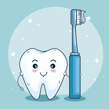 tooth care medicine with dental toothbrush vector illustration Ilustração