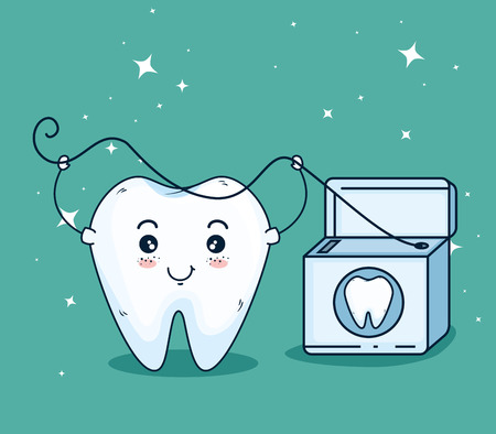 tooth care with dental floss tool vector illustration