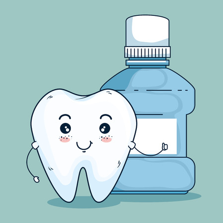 tooth dentistry care and dental mothwash vector illustration