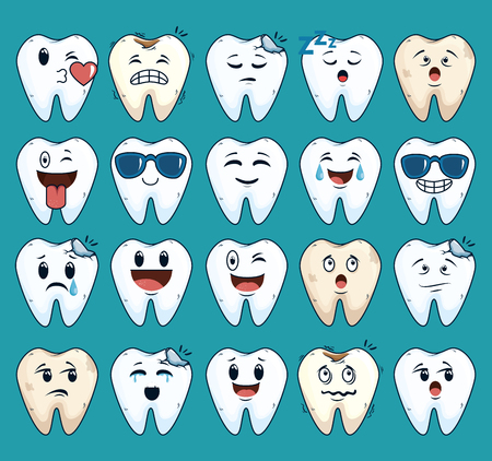 set teeth care treatment with dental medicine vector illustration