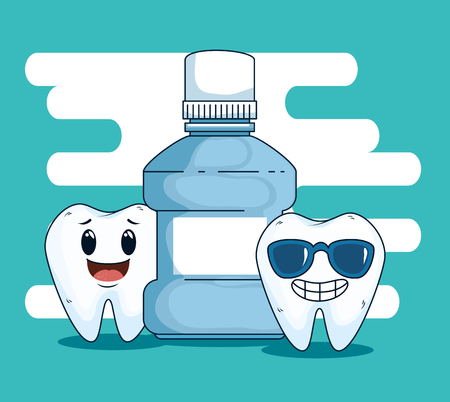 dental teeth care with mouthwash equipment vector illustration