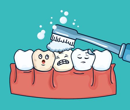 Zahnpflege mit Zahnbürsten-Zahnhygiene-Vektorillustration
