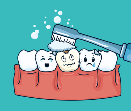 teeth hygiene treatment to dental care vector illustration