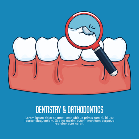 Tratamiento sanitario de odontología con ilustración de vector de lupa