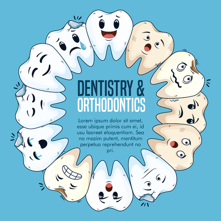 dentistry treatment with medicine hygiene care vector illustration Illustration