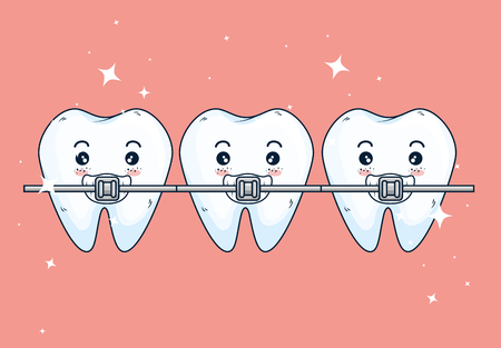 teeth orthodontist treatment to dentistry healthcare vector illustration