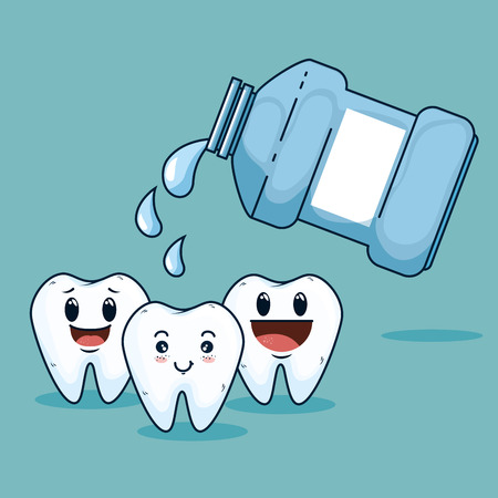 teeth care treatment with mouthwash equipment vector illustration
