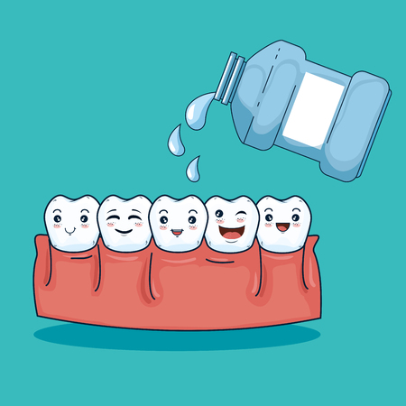 teeth hygiene halthcare with mouthwash medicine vector illustration Illustration