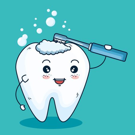 tooth hygiene healthcare with toothbrush equipment vector illustration