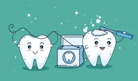 teeth care treatment with toothbrush and dental floss vector illustration