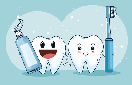 teeth treatment medicine with toothpaste and toothbrush vector illustration Illustration