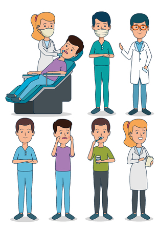 set profesional dentist with patient and teeth care vector illustration