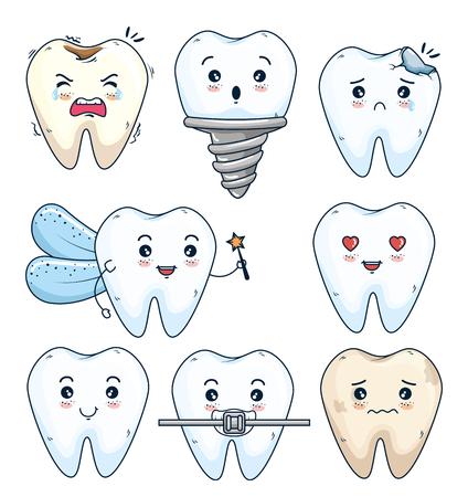 définir le traitement et l'hygiène des dents avec illustration vectorielle de prothèse