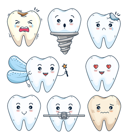 set teeth treatment and hygiene with prosthesis vector illustration