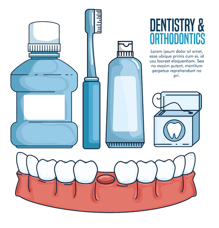 dentistry treatment and teeth healthcare tools vector illustration