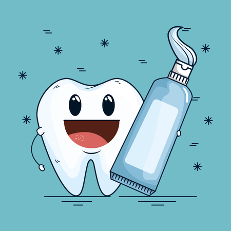 tooth care with dental toothpaste tool vector illustration
