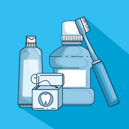 dental hygiene medicine to teeth treatment vector illustration
