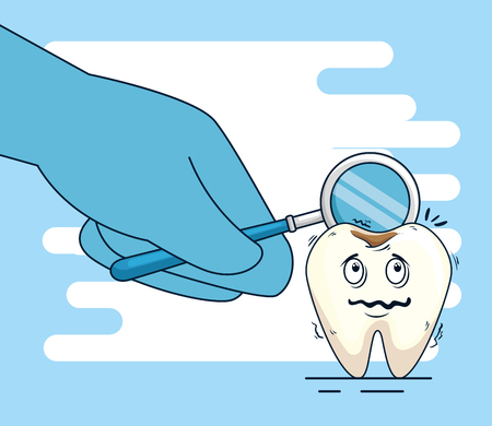tooth with caries and mouth mirror in the dentist hand vector illustration