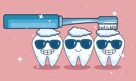 Zahngesundheit mit Sonnenbrille und Zahnbürstenhygiene-Vektorillustration